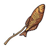 Fried fish icon in cartoon style isolated on white background.