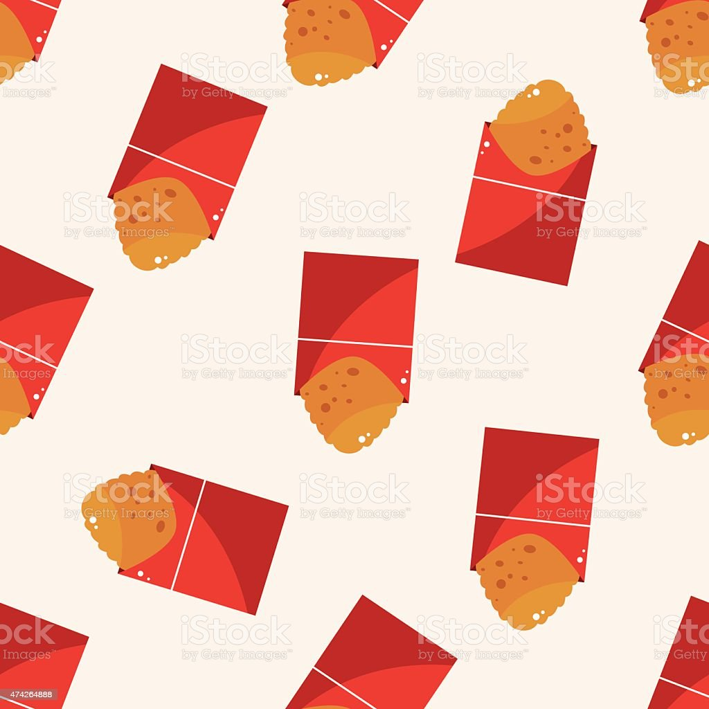 Fried foods theme hashbrown , cartoon seamless pattern background vector art illustration