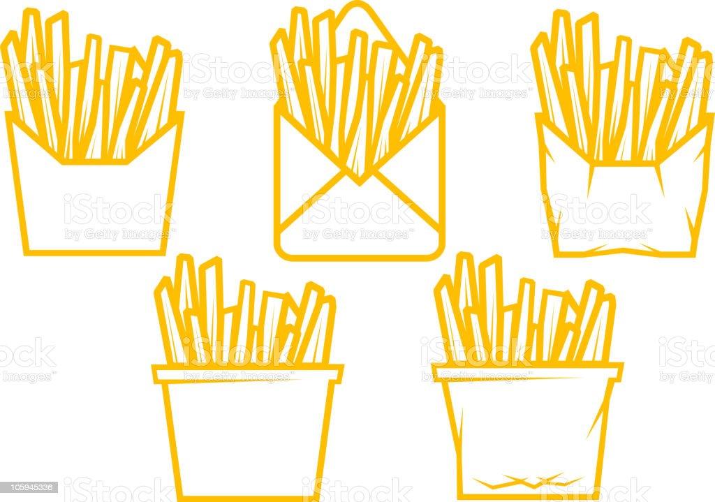 Fried potato set royalty-free stock vector art