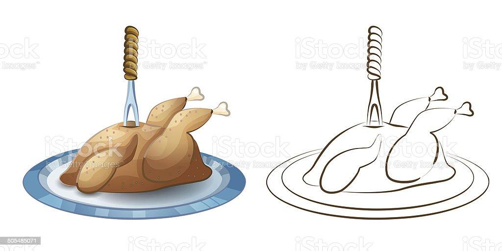 Fried Thanksgiving Turkey royalty-free stock vector art