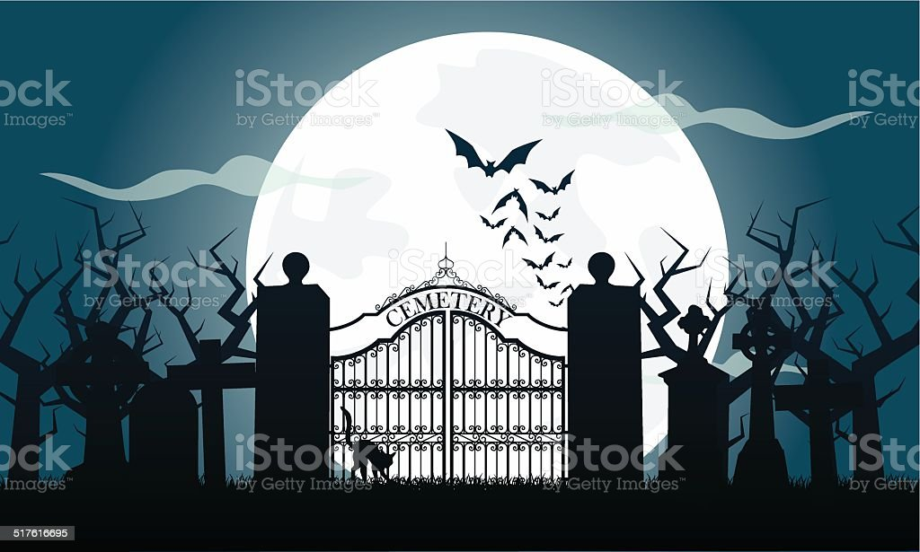 Friedhof vector art illustration