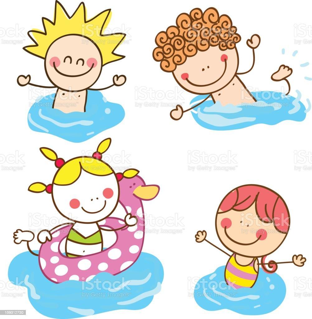 Freund Kinder Schwimmen Im Meer Urlaub Cartoon ...