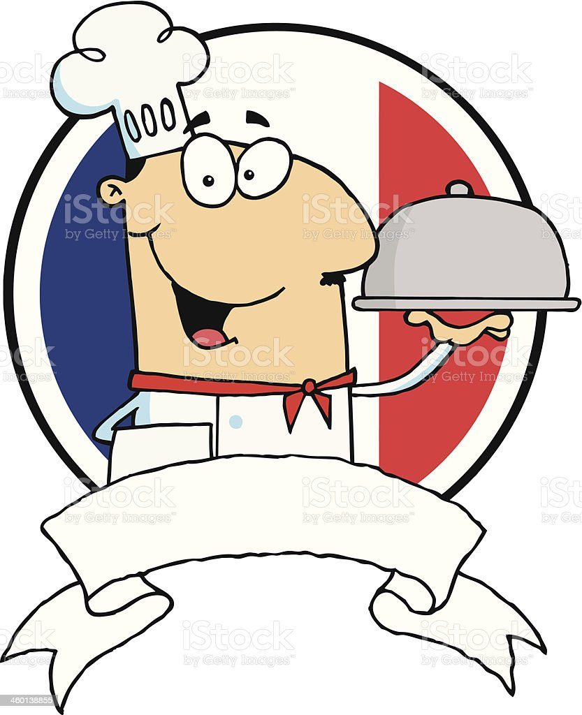 Friendly Chef Holding A Silver Platter With Flag royalty-free stock vector art