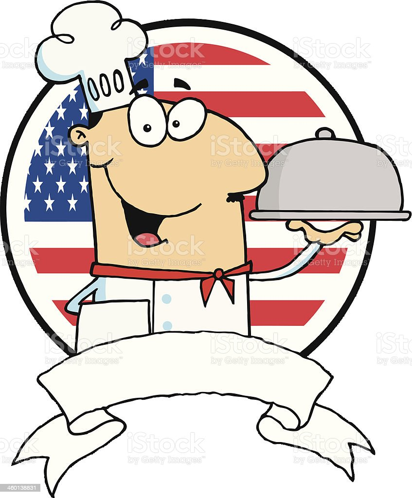 Friendly Chef Holding A Silver Platter With USA Flag vector art illustration