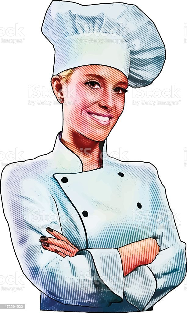 Friendly, Confident Chef Isolated On White royalty-free stock vector art