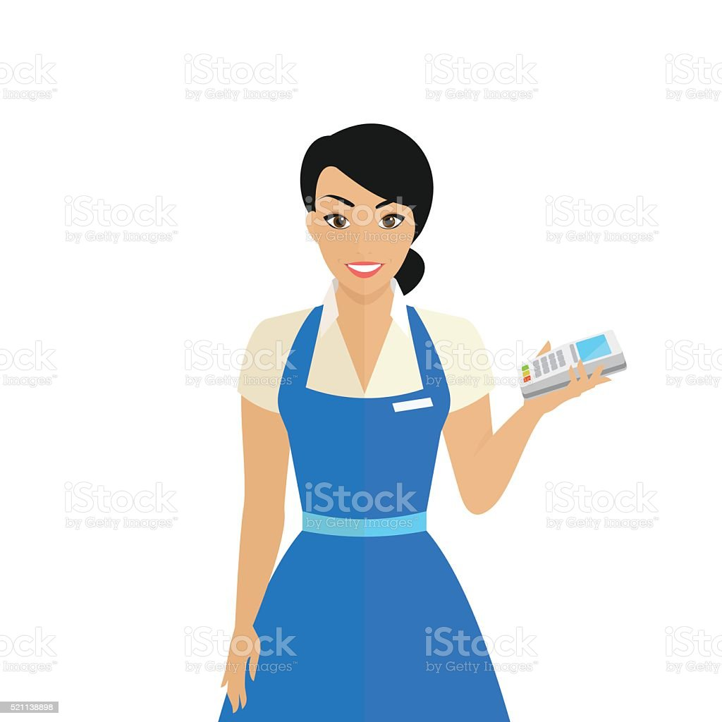 Friendly female shop assistant holding payment terminal in her hand vector art illustration