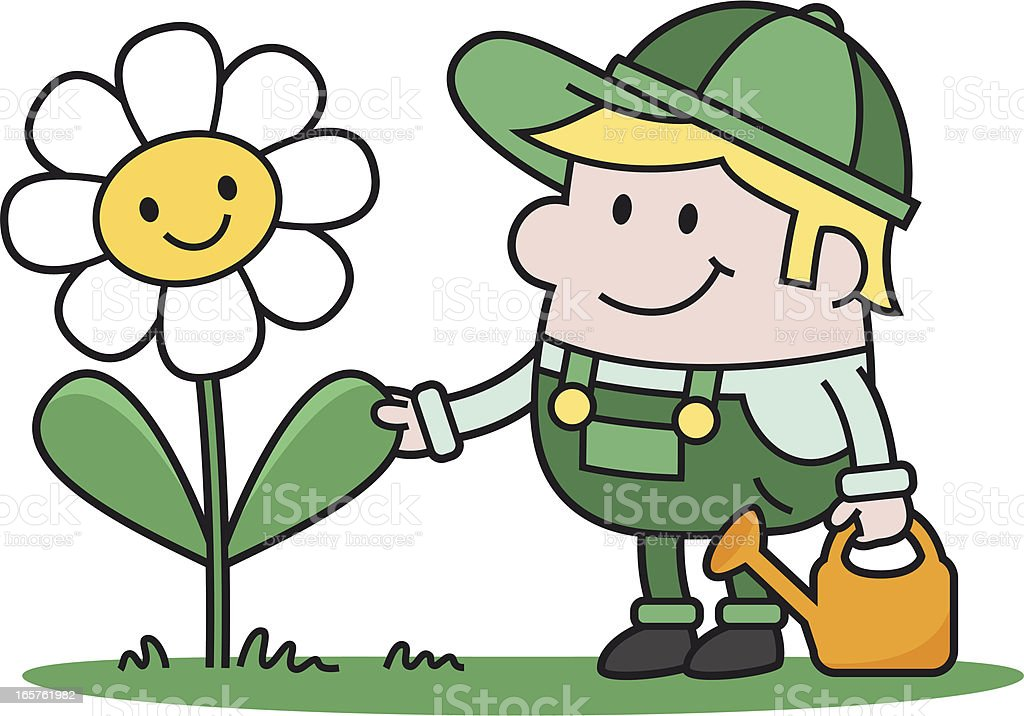 friendly gardener with flower and watering can royalty-free stock vector art