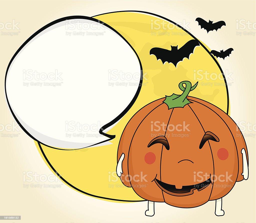 Friendly Jack-o-lantern and full moon royalty-free stock vector art