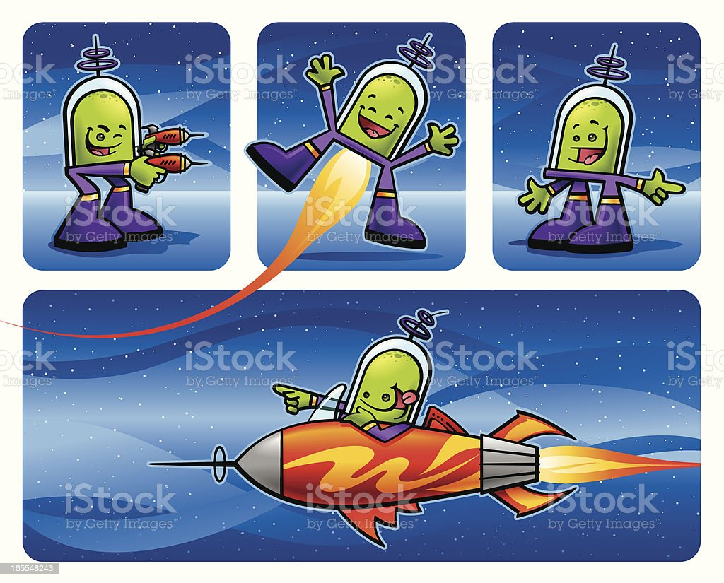 Friendly Martians royalty-free stock vector art