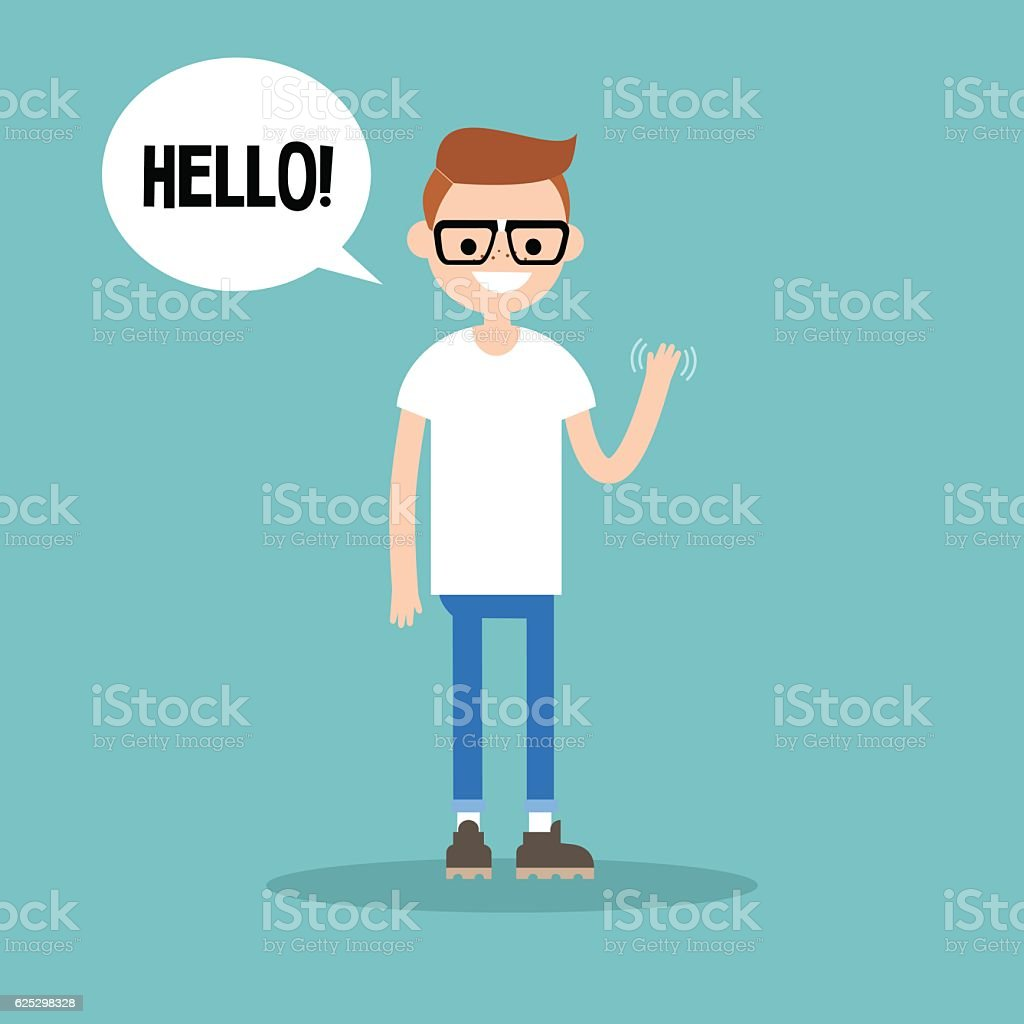 Friendly nerd saying 'Hello' and waving hand vector art illustration