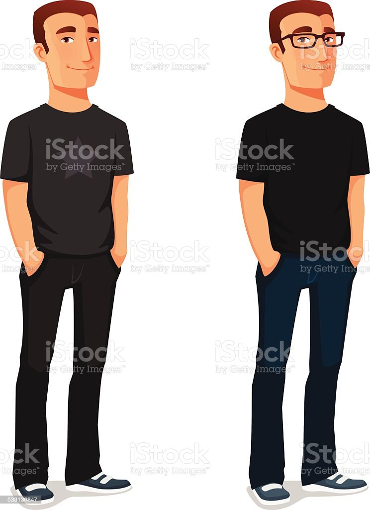 friendly young guy in casual clothes vector art illustration