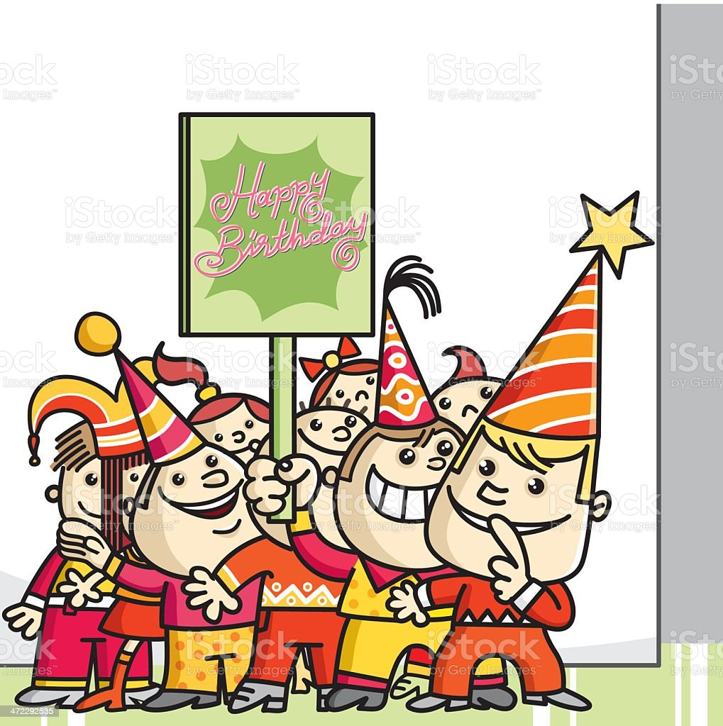 friends and great surprise party vector art illustration