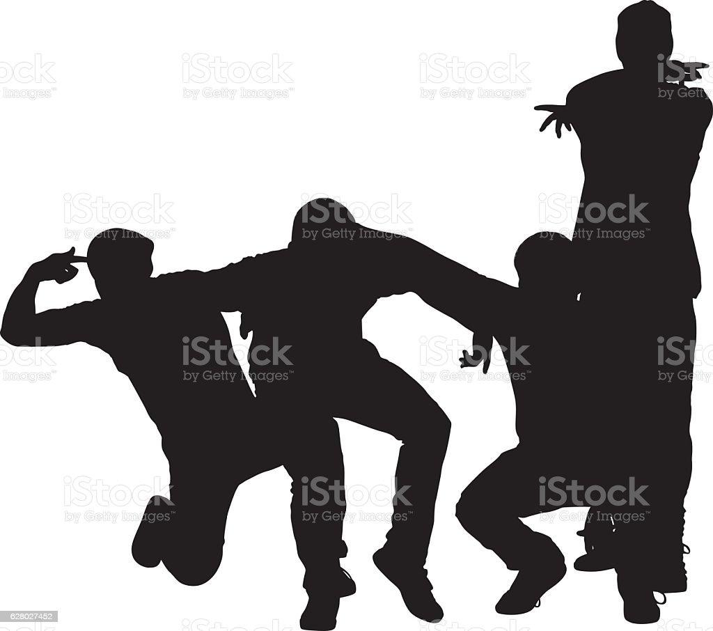 Friends breakdancing vector art illustration