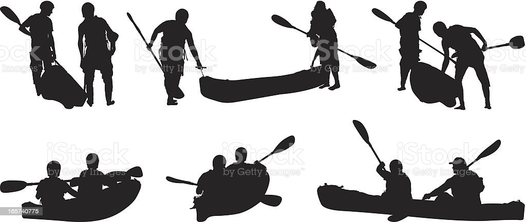 Friends canoeing vector art illustration