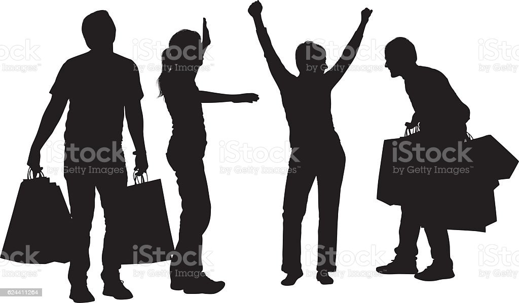 Friends cheering with shopping bag vector art illustration