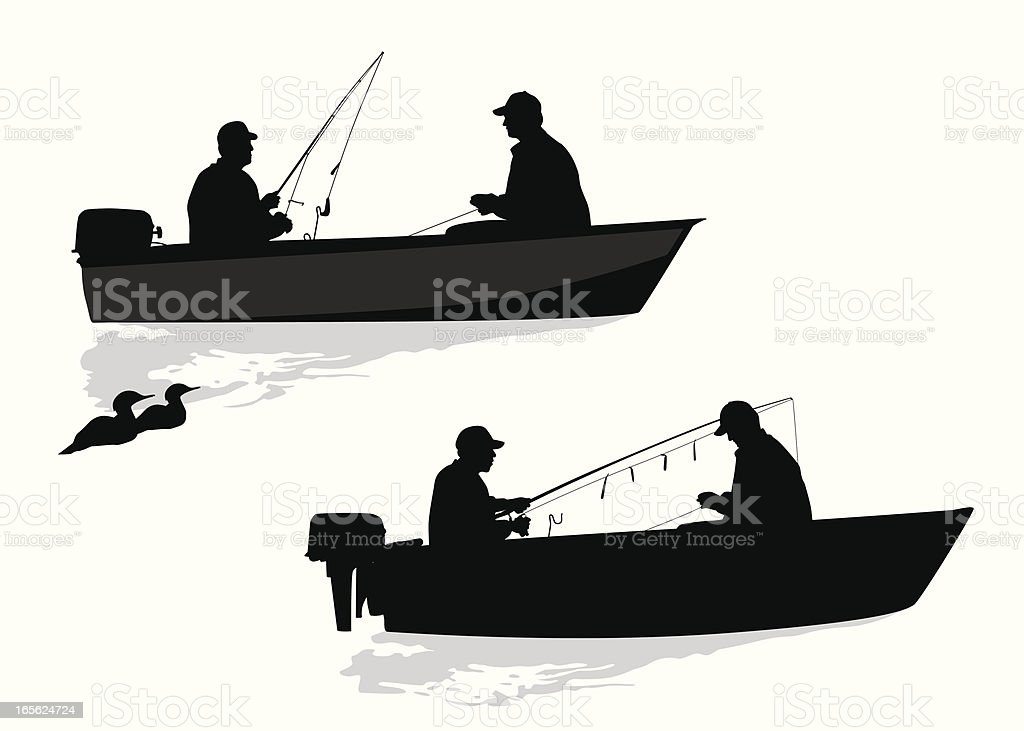 Friends Fishing Together  Vector Silhouette royalty-free stock vector art