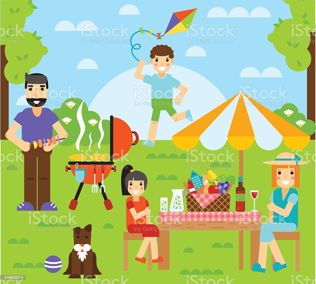 Friends friendship outdoor family dining people together happy fun concept vector art illustration