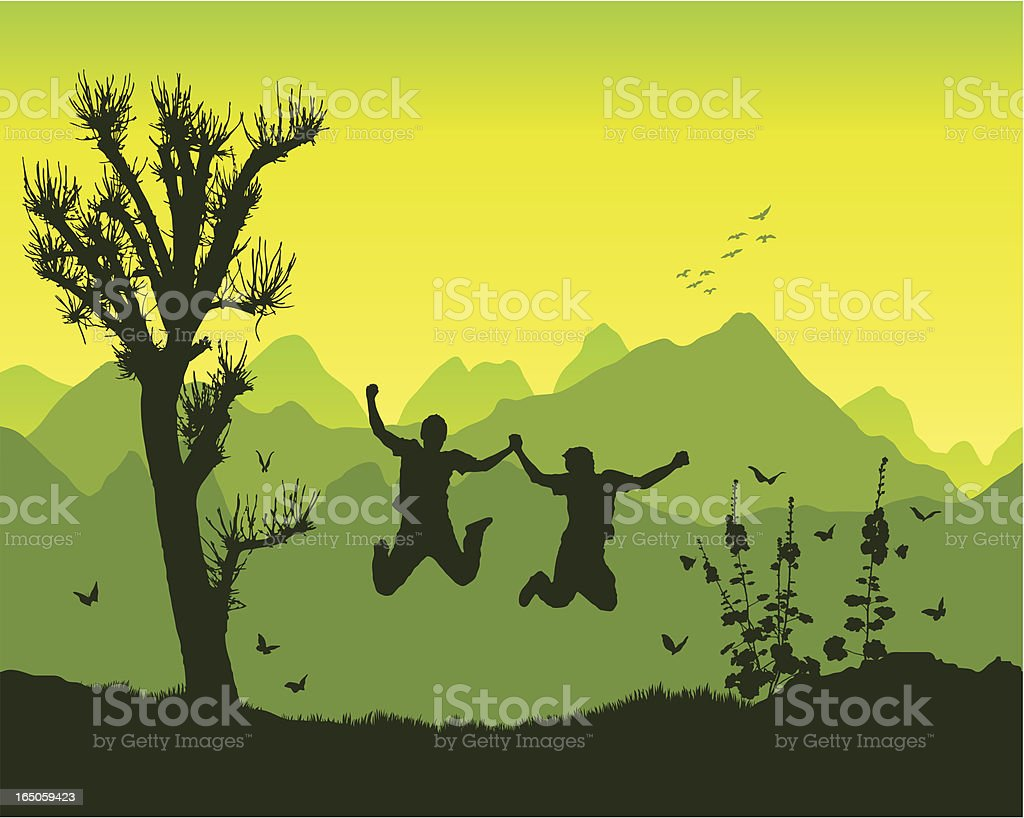 Friends in the mountains vector art illustration