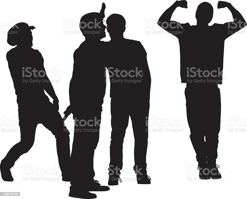 Friends in various actions vector art illustration