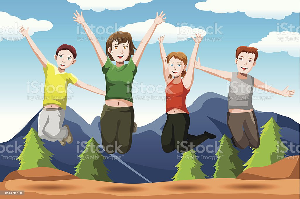 Friends jumping royalty-free stock vector art