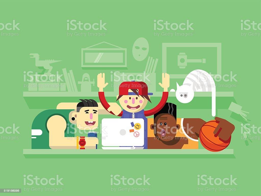 Friends looking at laptop screen vector art illustration