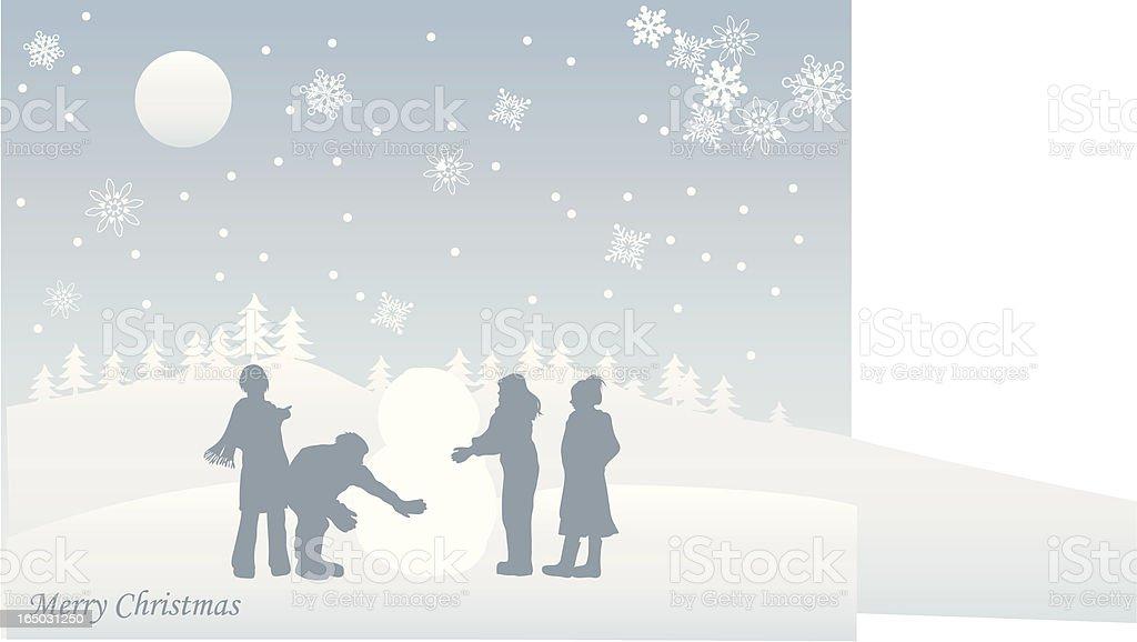 Friends making snowman royalty-free stock vector art