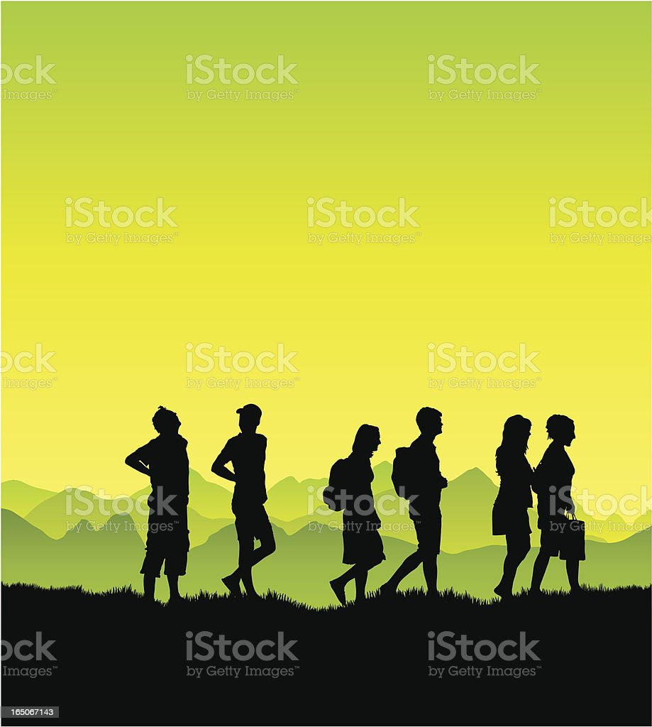 Friends on a walk in the country royalty-free stock vector art
