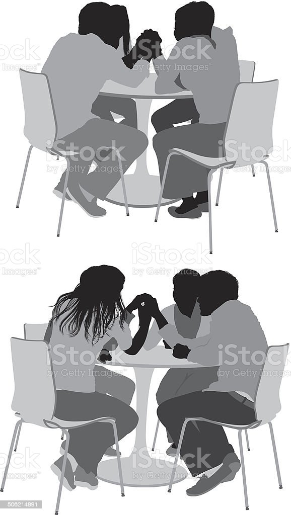 Friends sitting on coffee table royalty-free stock vector art