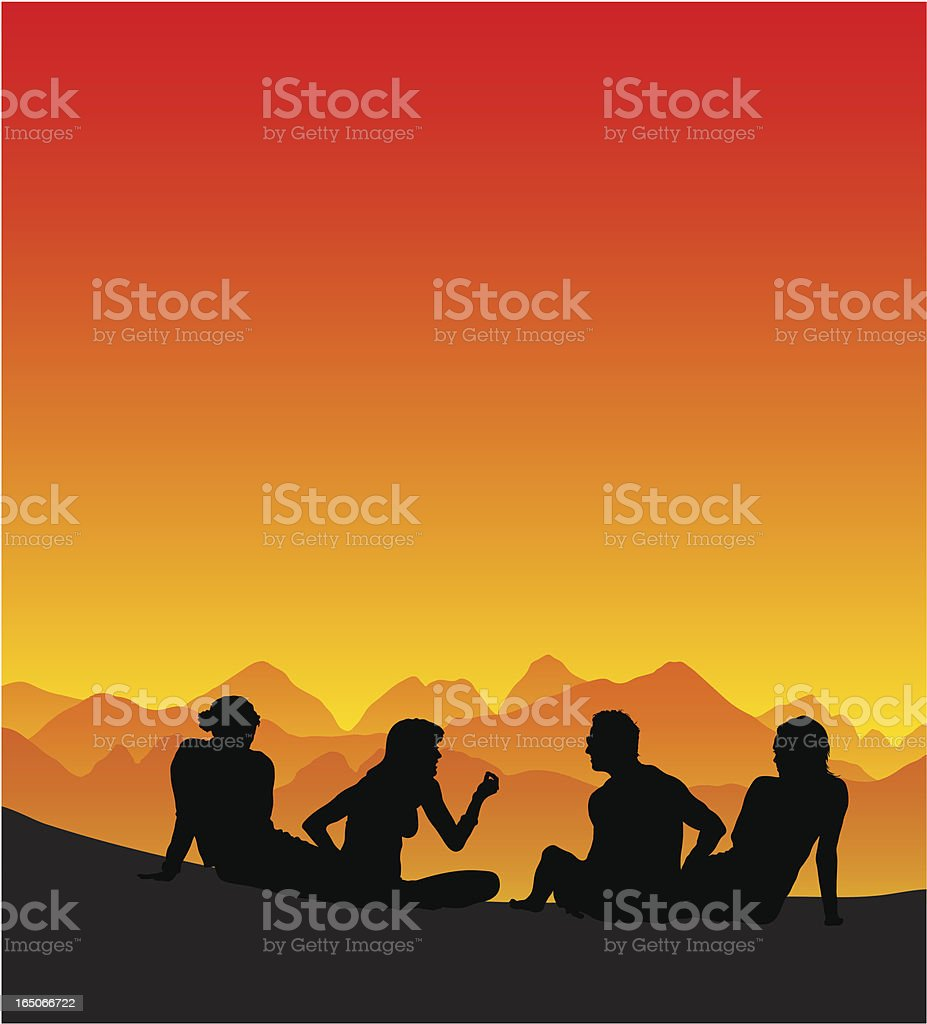 Friends sitting on the beach royalty-free stock vector art