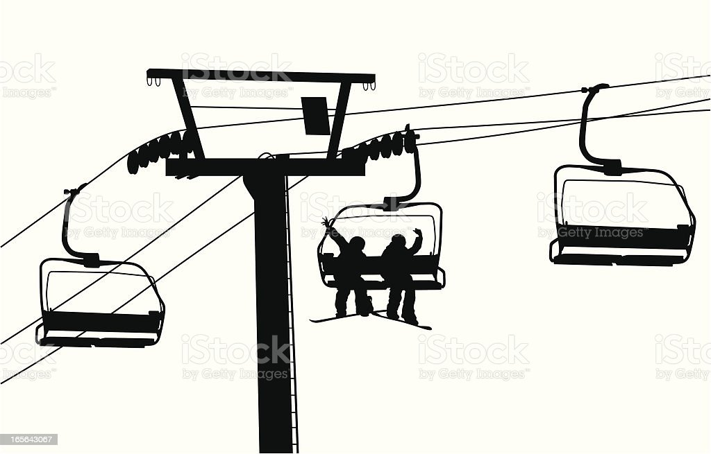 Friends Ski Lift vector art illustration