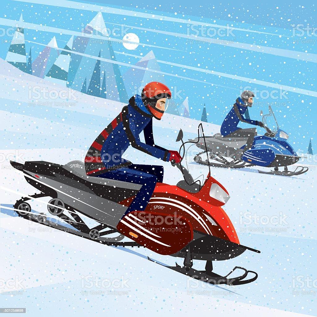 Friends snowmachine race vector art illustration