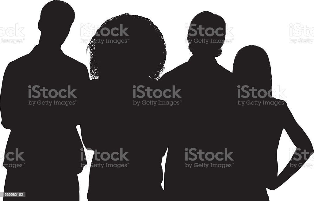 Friends standing together vector art illustration