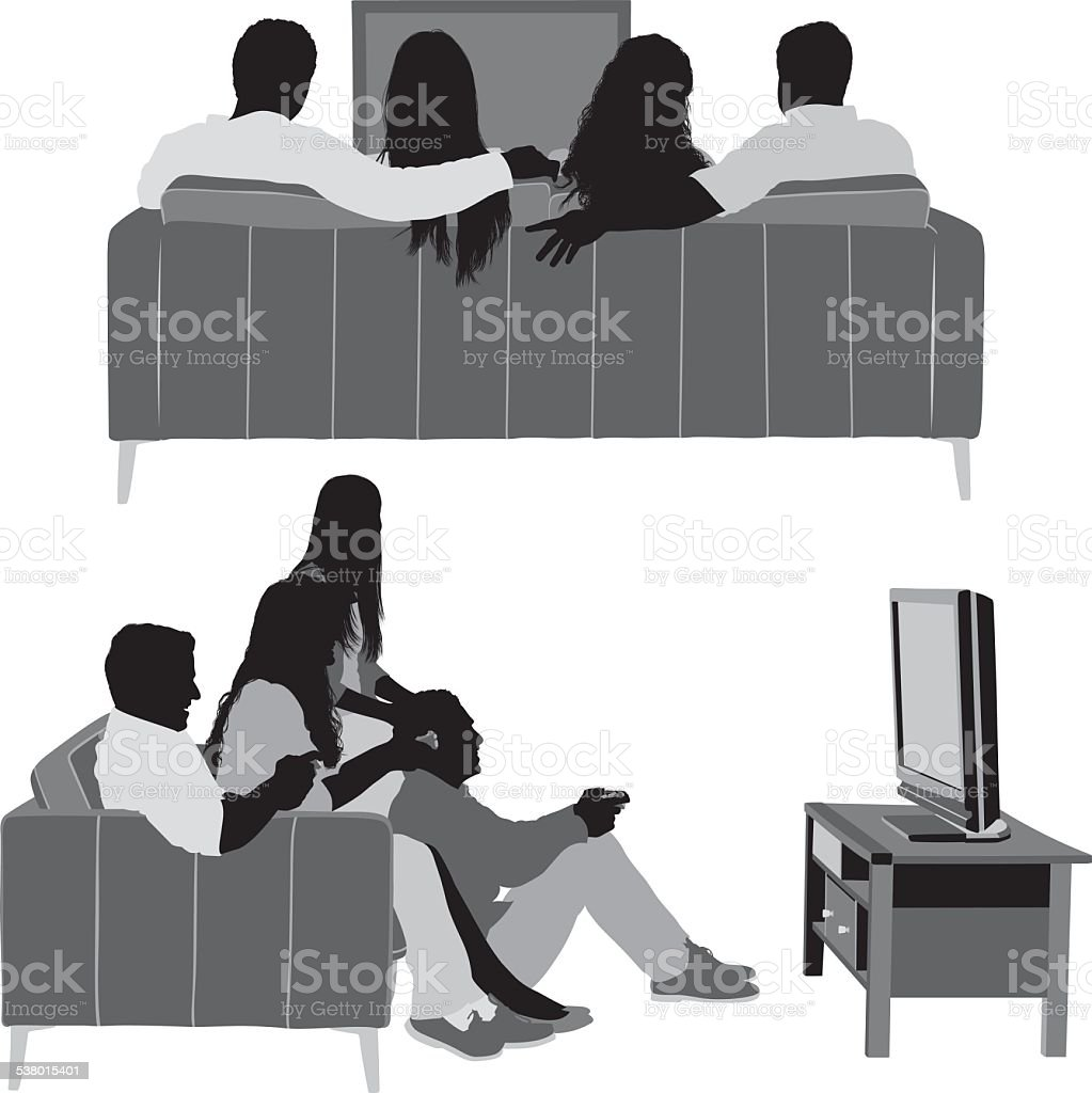 Friends watching television vector art illustration