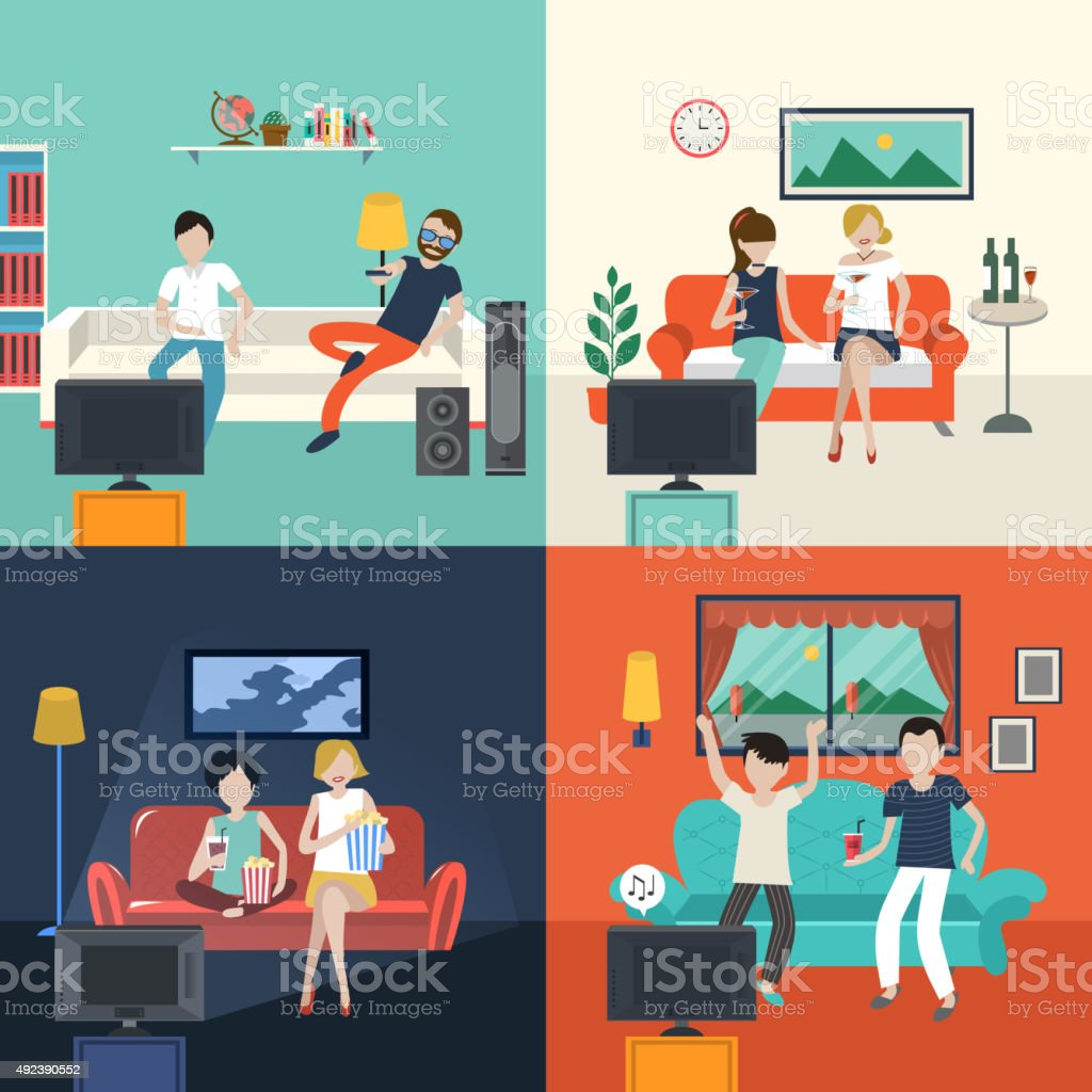 friends watching TV program in the living room vector art illustration