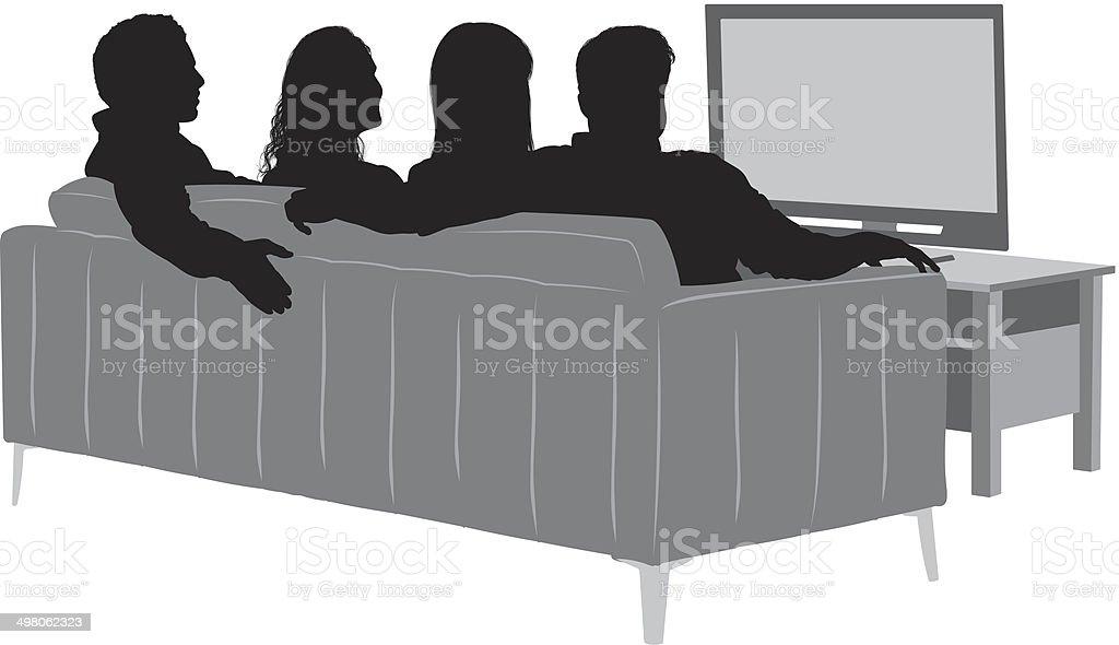Friends watching T.V. vector art illustration