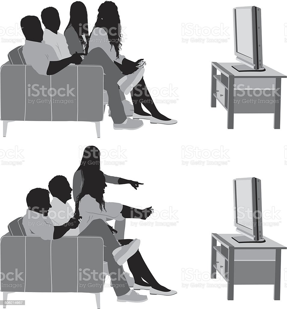 Friends watching TV royalty-free stock vector art
