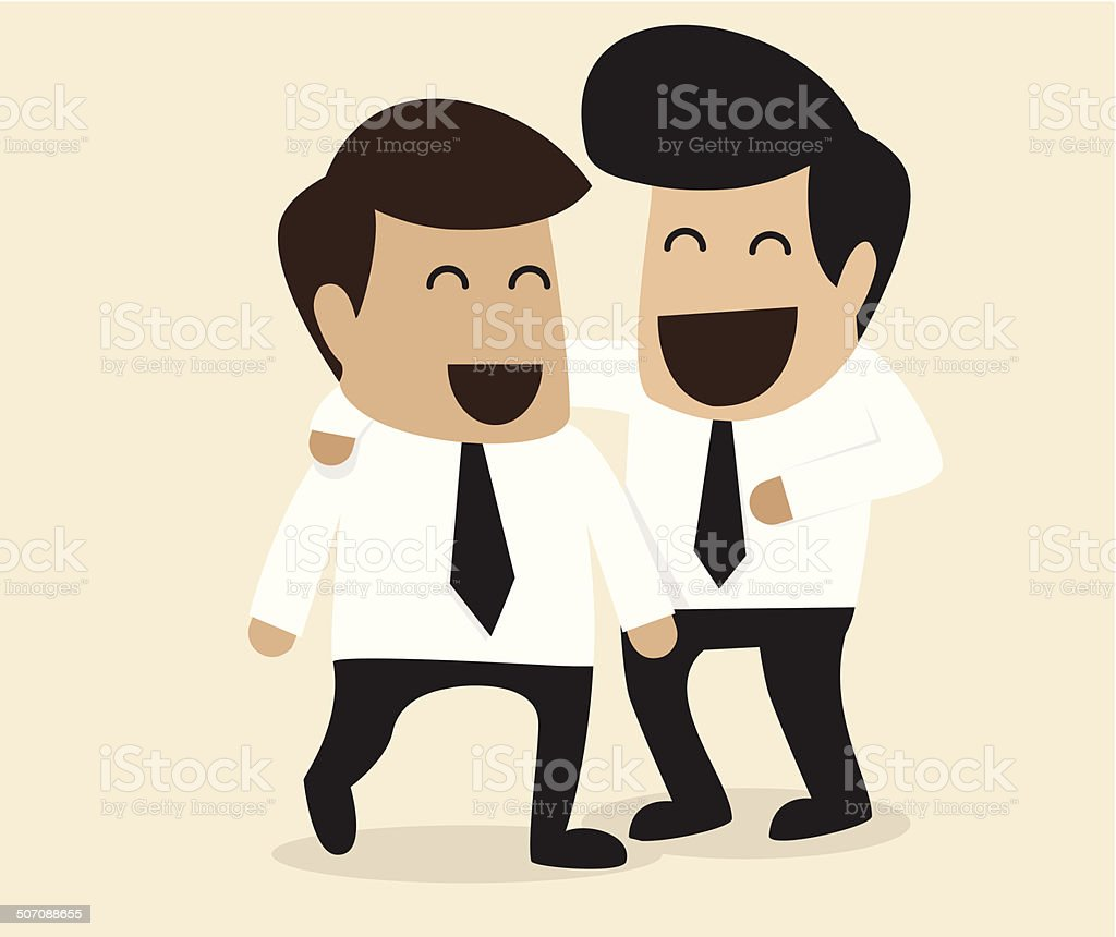 Friendship between two Businessman vector art illustration