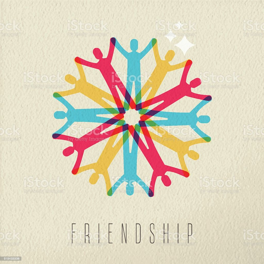 Friendship concept diversity people color design vector art illustration
