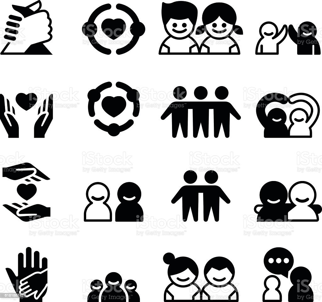 Friendship & Friend icons vector art illustration