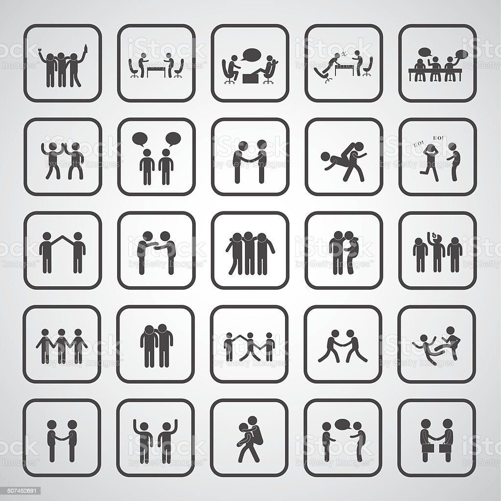 friendship symbol set vector art illustration