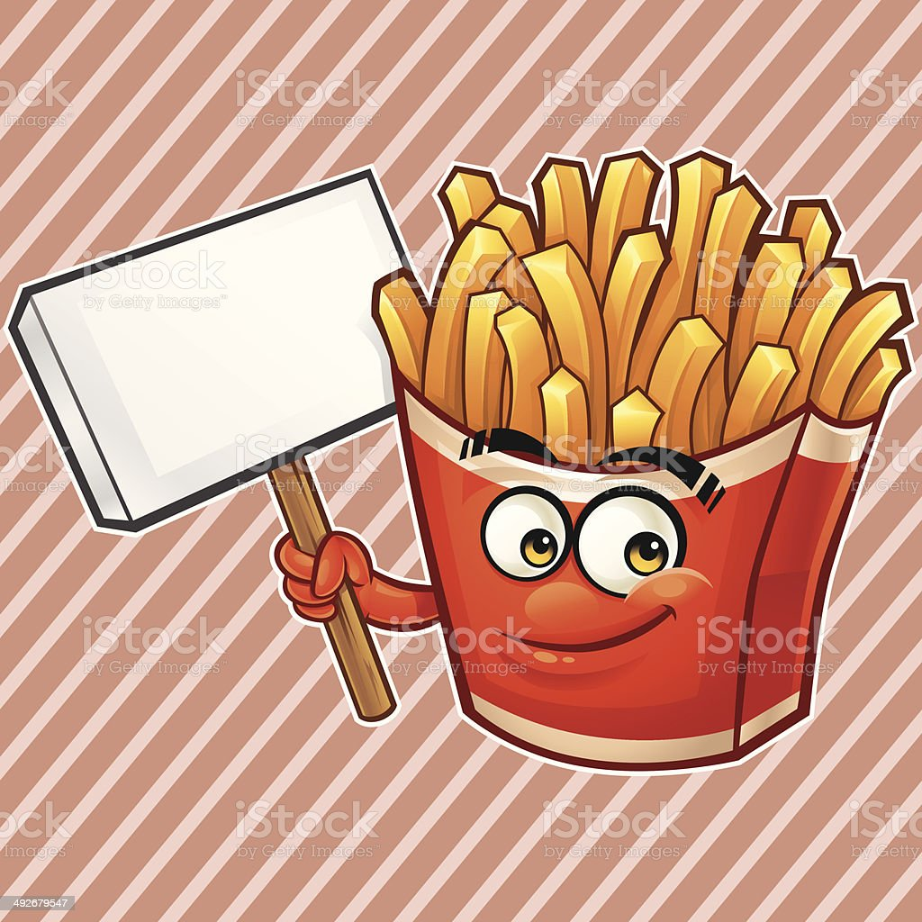 Fries Cartoon - Holding Sign royalty-free stock vector art