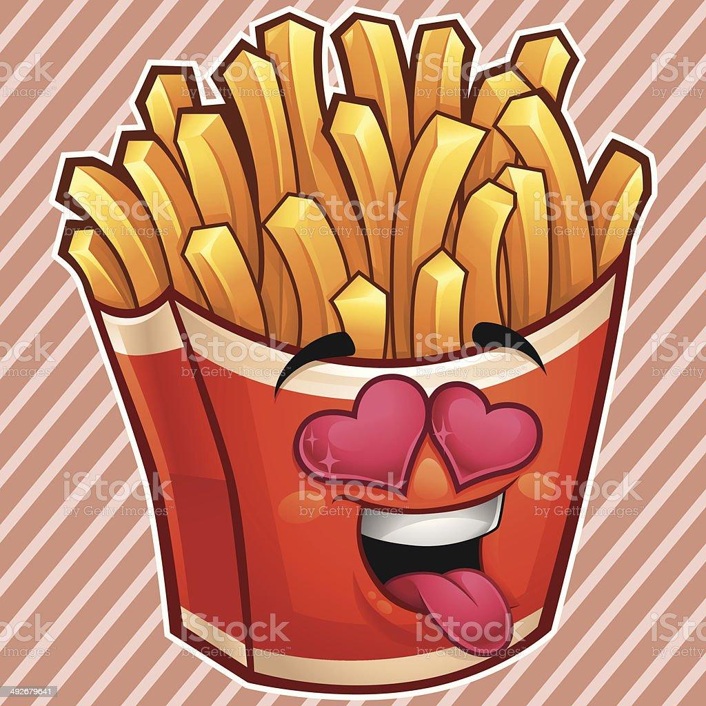 Fries Cartoon - In Love royalty-free stock vector art