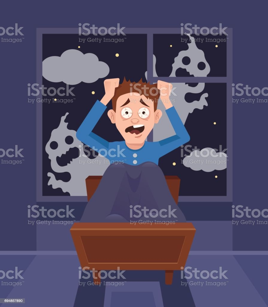 Frightened scary screaming man character can not sleep. Bad nightmare vector art illustration