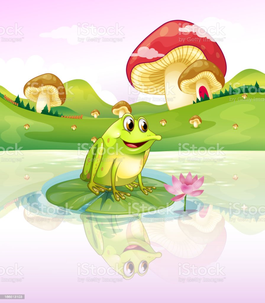 Frog above a waterlily royalty-free stock vector art