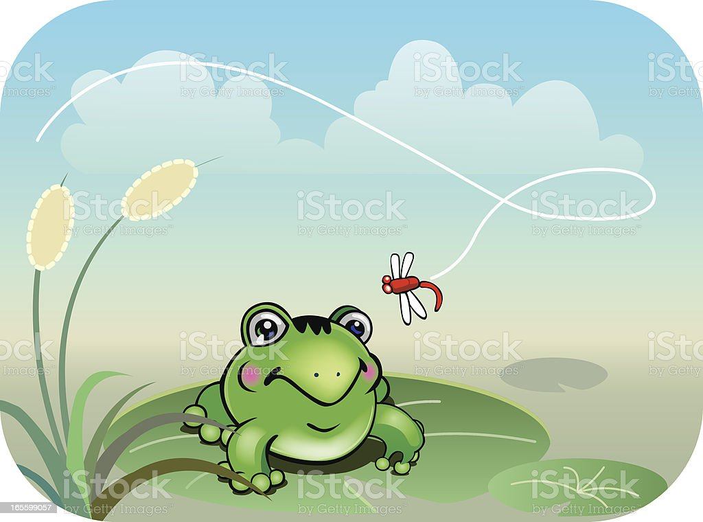 Frog and dragonfly vector art illustration