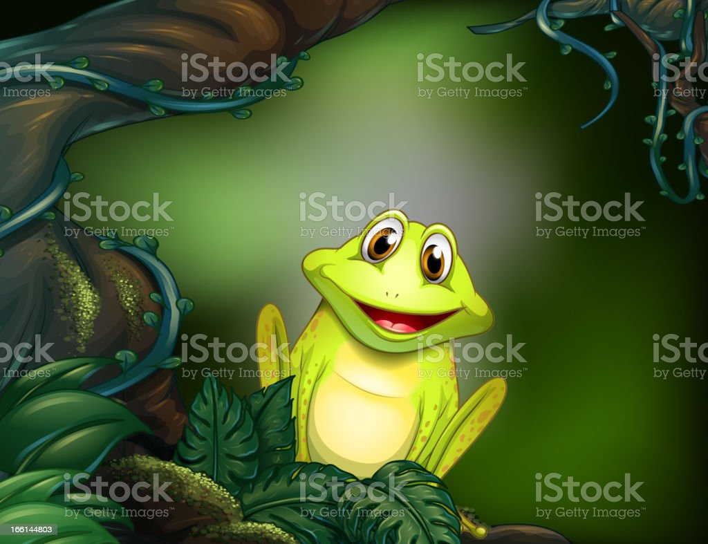 Frog at the forest royalty-free stock vector art