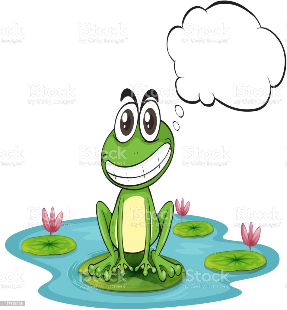 Frog at the pond with empty callout royalty-free stock vector art
