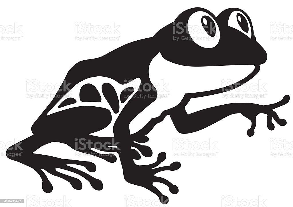 frog black and white vector art illustration