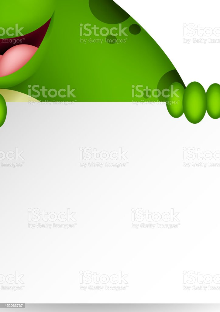 frog cartoon with blank sign royalty-free stock vector art