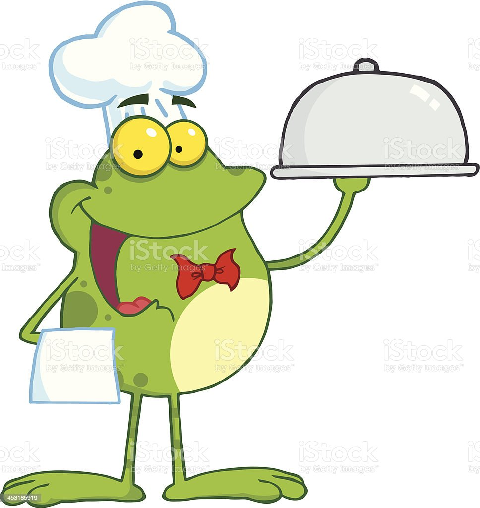Frog Chef Serving Food In A Sliver Platter royalty-free stock vector art